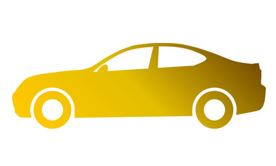 Car symbol icon - golden gradient, 2d, isolated - vector