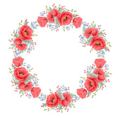 floral wreath background with poppy flower