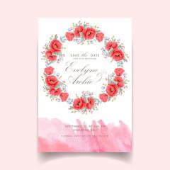 floral wedding invitation with poppy flower
