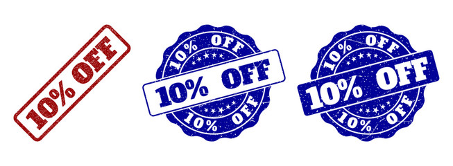 10% OFF grunge stamp seals in red and blue colors. Vector 10% OFF marks with scratced style. Graphic elements are rounded rectangles, rosettes, circles and text titles.