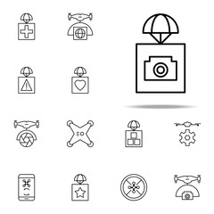 sending with cameras icon. Drones icons universal set for web and mobile
