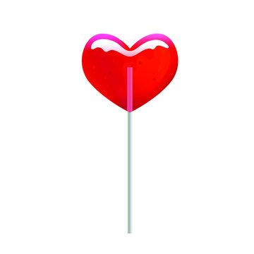 Red heart shaped lollipop isolated on white