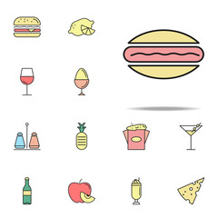 hotdog colored icon. food icons universal set for web and mobile