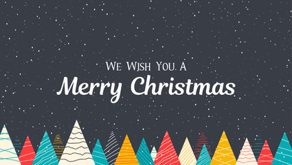 Merry Christmas poster with creative colorful fir trees and snow.