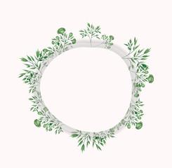 circular frame with laurel leafs