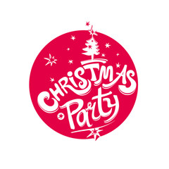 Christmas Party vector logo. Red round template handwritten font and Christmas tree and stars. Template for the holiday party.