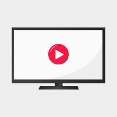 tv with red play button video
