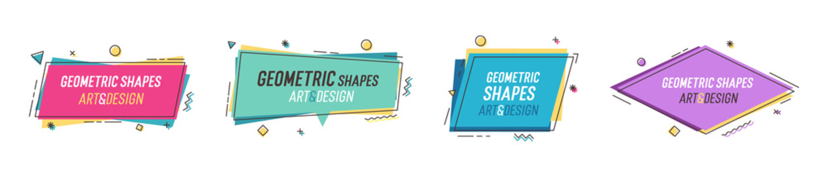 Geometric shapes with abstract elements and place for text. Vector graphic design illustrations for advertising, sales, marketing, design and art projects, posters,