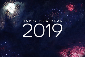 Happy New Year 2019 Celebration Text with Festive Fireworks Collage in Night Sky