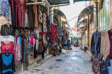The Arab market in HaNotsrim street in the old city of Jerusalem, Israel