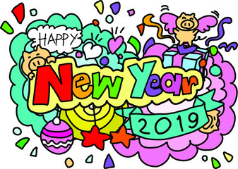 Happy new year hand drawn style