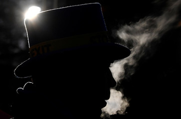 Anti-Brexit protestor Steve Bray vapes before dawn near the Houses of Parliament, in London