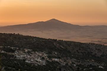 Hills near Meknes and Fez. Sunset landscape. Morocco