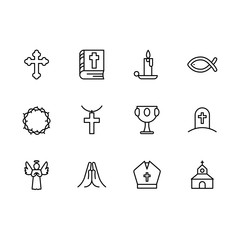 Basic RGBSimple set symbols religion and church line icon. Contains such icon religious cross, holy bible book, candle, crown of thorns, goblet, grail, temple, prayer, grave, death, angel.