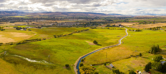 Yakima River Aerial Panorama Ellensburg Washington USA