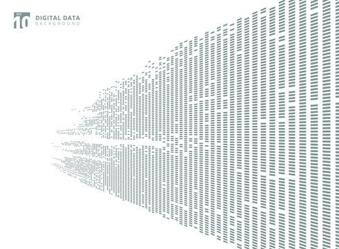 Abstract technology digital data square gray pattern pixel prespective background with copy space.