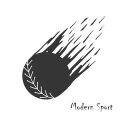 Modern style vector background with silhouette of softball in motion.