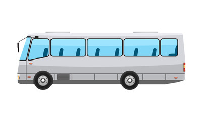 City public bus with flat and solid color style design. Transparent window glasses. Vector illustration.