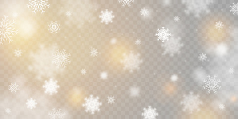 Christmas background with snowflakes isolated on transparent background. Beautiful falling snow, realistic vector illustration.