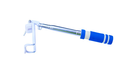Blue and white selfie stick for smartphone isolated on white background with clipping path