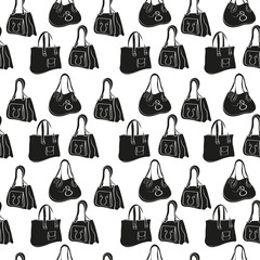 Bag ladies. Background, wallpaper, seamless. Silhouette. Black Image.