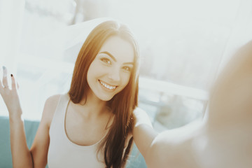 Smiling Girl Is Doing A Selfie Before Hen-party.