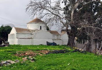 Old stone chapel in greek village
