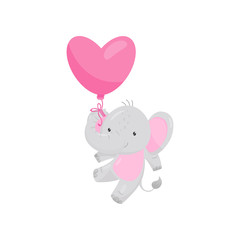 Adorable elephant flying with pink heart-shaped balloon. Wild animal. Flat vector for Valentine s day postcard