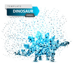 Dino, dinosaur - ice dot illustration.