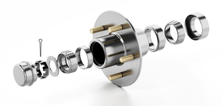 3D structure of a wheel bearing. 3D illustration