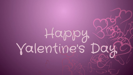 Happy Valentine's day, greeting card, pink hearts, lilac background