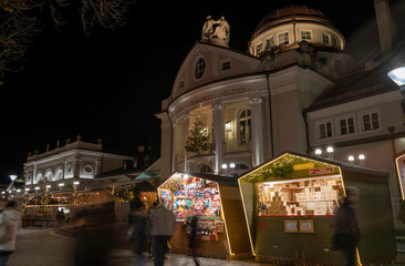 Christmas market booth with kurhaus in Merano south tyrol italy,