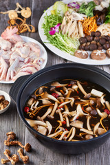 Wild forest fungus soup set meal