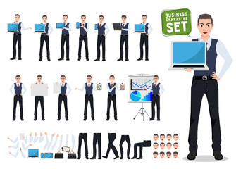 Business man vector character creation set with male office person showing laptop screen in different posture and gesture for business presentation. Vector illustration.