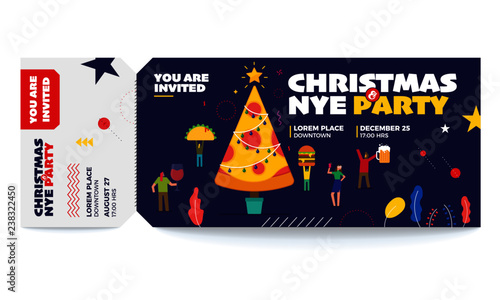 christmas and new year vector tickets templates ticket for entrance to the party modern