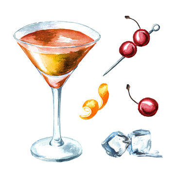 Manhattan cocktail with cherry and orange zest set. Watercolor hand drawn illustration isolated on white background