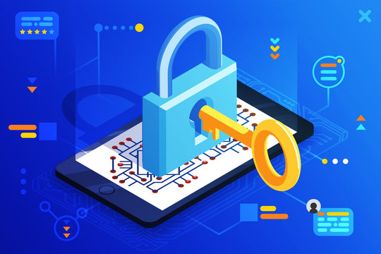 Mobile web security smartphone access isometric 3d key technology digital lock internet cyber protection icon vector illustration