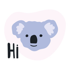Head of koala bear, hand drawn icon. Vector illustration for greeting card, t shirt, print, stickers, posters design.