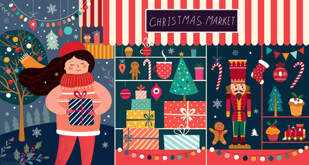 Fotomurales - Vector illustration with girl and Christmas gifts. Christmas Market