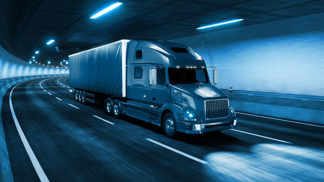 Trailer truck rides through tunnel with cold blue light style 3d rendering