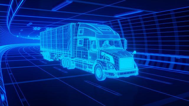 Blue wireframe Trailer Truck rides through Blue tunnel 3d rendering