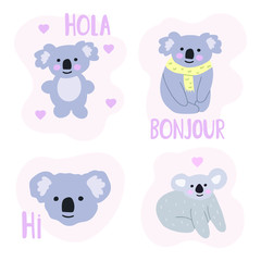 Set of hand drawn koala icons. Vector illustration for greeting card, kids wear, t shirt, social network stickers, posters design.