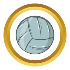 Volleyball vector icon in golden circle, cartoon style isolated on white background