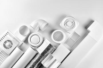 Fototapeta ventilation system components on white background top view obraz