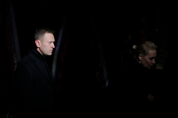 Russian opposition leader Navalny and his wife Yulia pay their respects to human rights activist Alexeyeva in Moscow