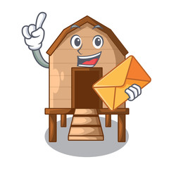 With envelope chiken coop isolated on a mascot