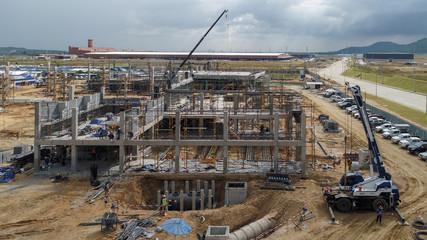 Fototapeta Aerial view of construction site obraz