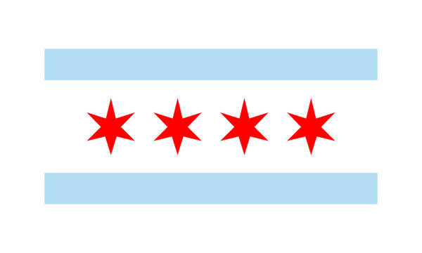 Vector Flag of Chicago simple flat design illustration Isolated on White Background