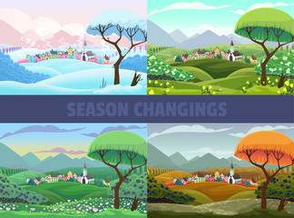 Wall Murals Green coral Four seasons of village view: spring, summer autumn and winter. Vector cartoon landscape
