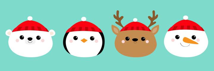 Merry Christmas. New Year. White polar bear Penguin Deer bird Raindeer Snowman round face head icon set. Cute cartoon funny kawaii baby character. Greeting card. Flat design Blue background.
